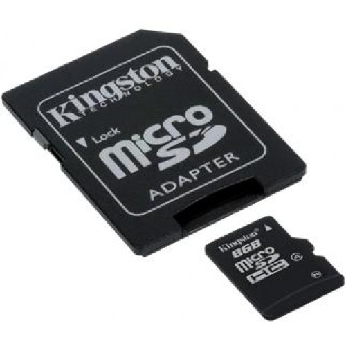 8GB microSDHC Class 4 Memory Card with SD Adapter
