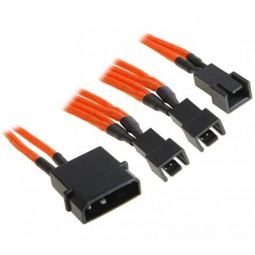 Molex to 3x 3-pin CPU or System 5V Fan Power Cable - Orange